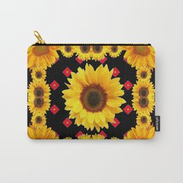 Black Western Blanket Style Sunflowers Carry-All Pouch