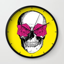 Skull and Roses | Yellow and Pink Wall Clock