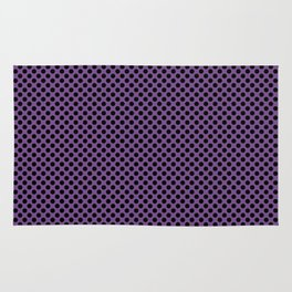 Royal Lilac and Black Polka Dots Rug