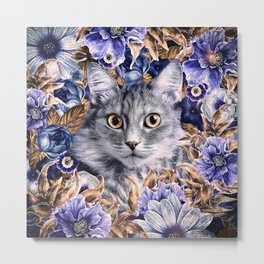 Cat in Flowers. Autumn Metal Print