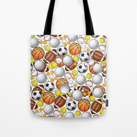 sport Tote Bags featuring Sport Balls by Martina Marzullo Art