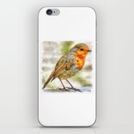 Christmas Robin Winter Watercolor iPhone Skin