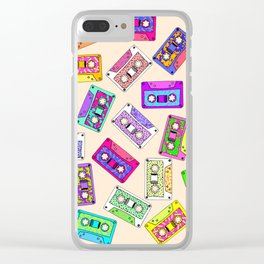 Retro 80's 90's Neon Patterned Cassette Tapes Clear iPhone Case