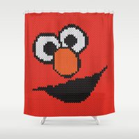 knit Shower Curtains featuring Knit Elmo by colli1 3designs