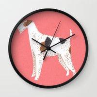 terrier Wall Clocks featuring Fox Terrier by Emma Block