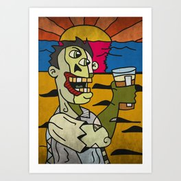 Zombie Drinking a Pint of Beer at Sunset Art Print