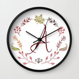 Floral A letter Wall Clock
