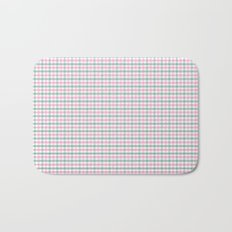 Gingham pink and forest green Bath Mat