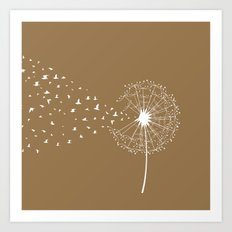 Dandelion and birds - sedona color Art Print