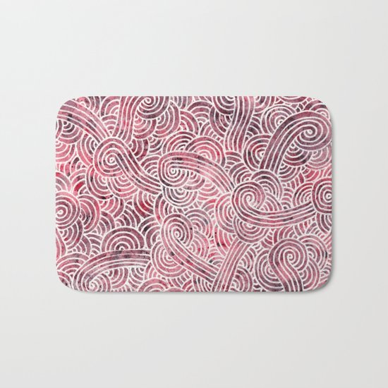 Burgundy red and white swirls doodles Bath Mat