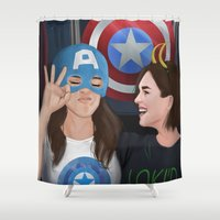 superheroes Shower Curtains featuring skimmons at the superheroes museum. by tantoun