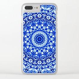 Blue Mandala Mehndi Style G403 Clear iPhone Case