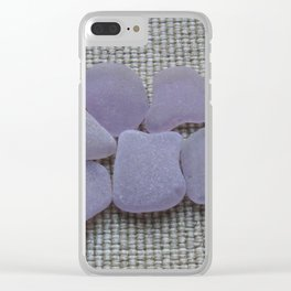 Dark Purple Sea Glass Clear iPhone Case