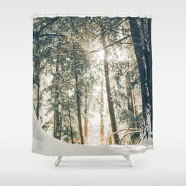 Golden Winter Forest (Color) Shower Curtain
