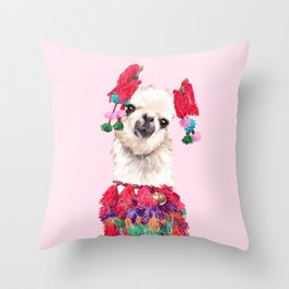 Llama in Colourful Costume Throw Pillow