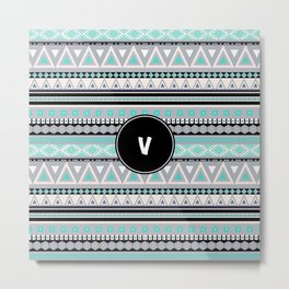 Monogram Tribal Pattern *V* Metal Print