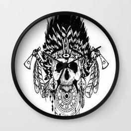 Indian chief , skull art , custom gift design Wall Clock