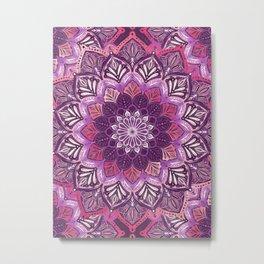 Boho Mandala in Deep Purple and Pink Metal Print