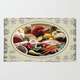 Thanksgiving Dinner and Autumn Decoration. Rug
