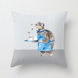 Turtle waitress coffee time Throw Pillow
