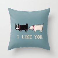 white Throw Pillows featuring I Like You. by gemma correll