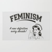 feminism Area & Throw Rugs featuring Feminism - New Definition - White by Anti Liberal Art