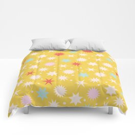Vintage Christmas Wrapping Paper Pattern Design Mustard Stars & Dots Comforters