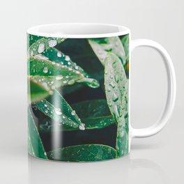 Geometric Wet Leaves Green Plant Coffee Mug