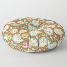 Hedgehog Paisley - Colors and Cocoa Floor Pillow