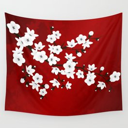 Red Black And White Cherry Blossoms Wall Tapestry