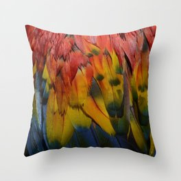 Scarlet Macaw Feathers Texture Photograph Throw Pillow