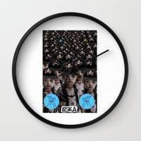 mass effect Wall Clocks featuring Mass Effect by LOSKA