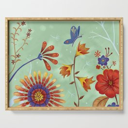Autumn Floral Butterfly Serving Tray