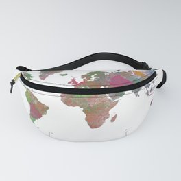 World Map - Watercolor 4 Fanny Pack