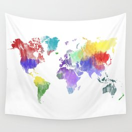 Colorful world map Wall Tapestry