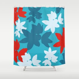 Bold Blue and Red Floral Pattern Shower Curtain