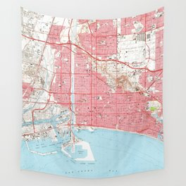 Vintage Map of Long Beach California (1964) 4 Wall Tapestry