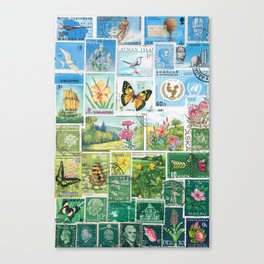 Whimsical Landscape - postage stamp art, butterflies & flowers Canvas Print