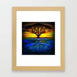 Duality Tree of Life Reflection Moon & Sun Day & Night Painting by CAP Framed Art Print