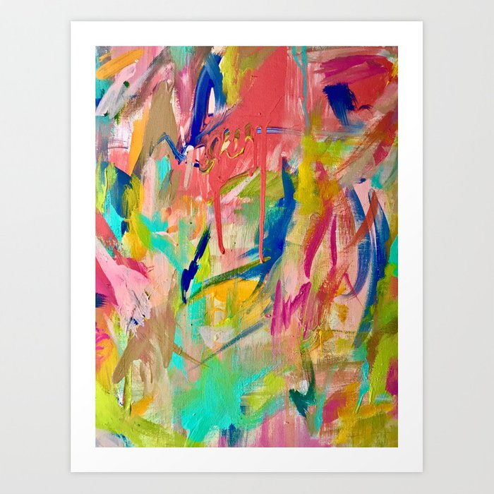 Wild Child A Colorful Vibrant Abstract Piece In Neon And Bold Colors Art Print By Blushingbrushstudio