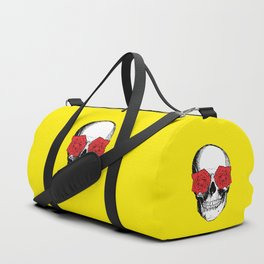 Skull and Roses | Skull and Flowers | Vintage Skull | Yellow and Pink | Duffle Bag