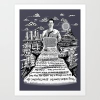 kerouac Art Prints featuring on the road - kerouac  by miles to go