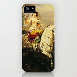Classical Masterpiece An Algerian Lady Hawking by Horace Vernet iPhone Case