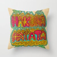 hakuna Throw Pillows featuring Hakuna Color by Diego Tirigall