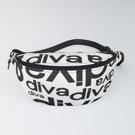 Diva Repeated Typography Text Design Fanny Pack