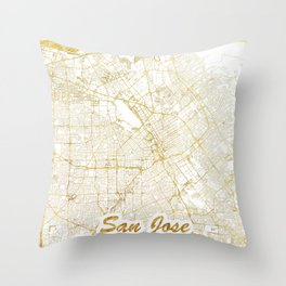 San Jose Map Gold Throw Pillow