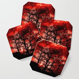 black trees red space Coaster