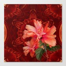 Orange hibiscus and vibrant kaleidoscope Canvas Print