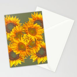 Golden Sunflowers on Putty Color  Art Stationery Cards