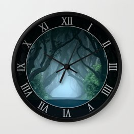 Cold foggy morning in Dark Hedges Wall Clock